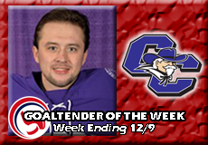 Justin Ketola-Curry, Men's Ice Hockey: Goaltender of the Week