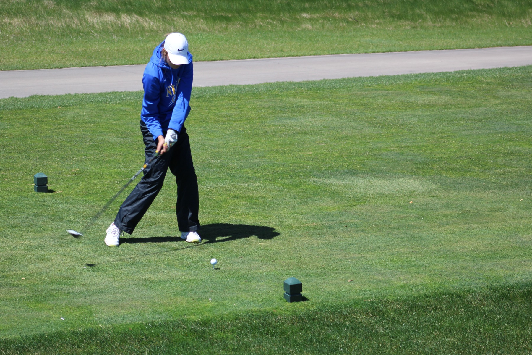 NIACC freshman Jordyn Barragy tees off during Friday's round at the regional golf tournament Friday at Otter Creek Golf Course in Ankeny.