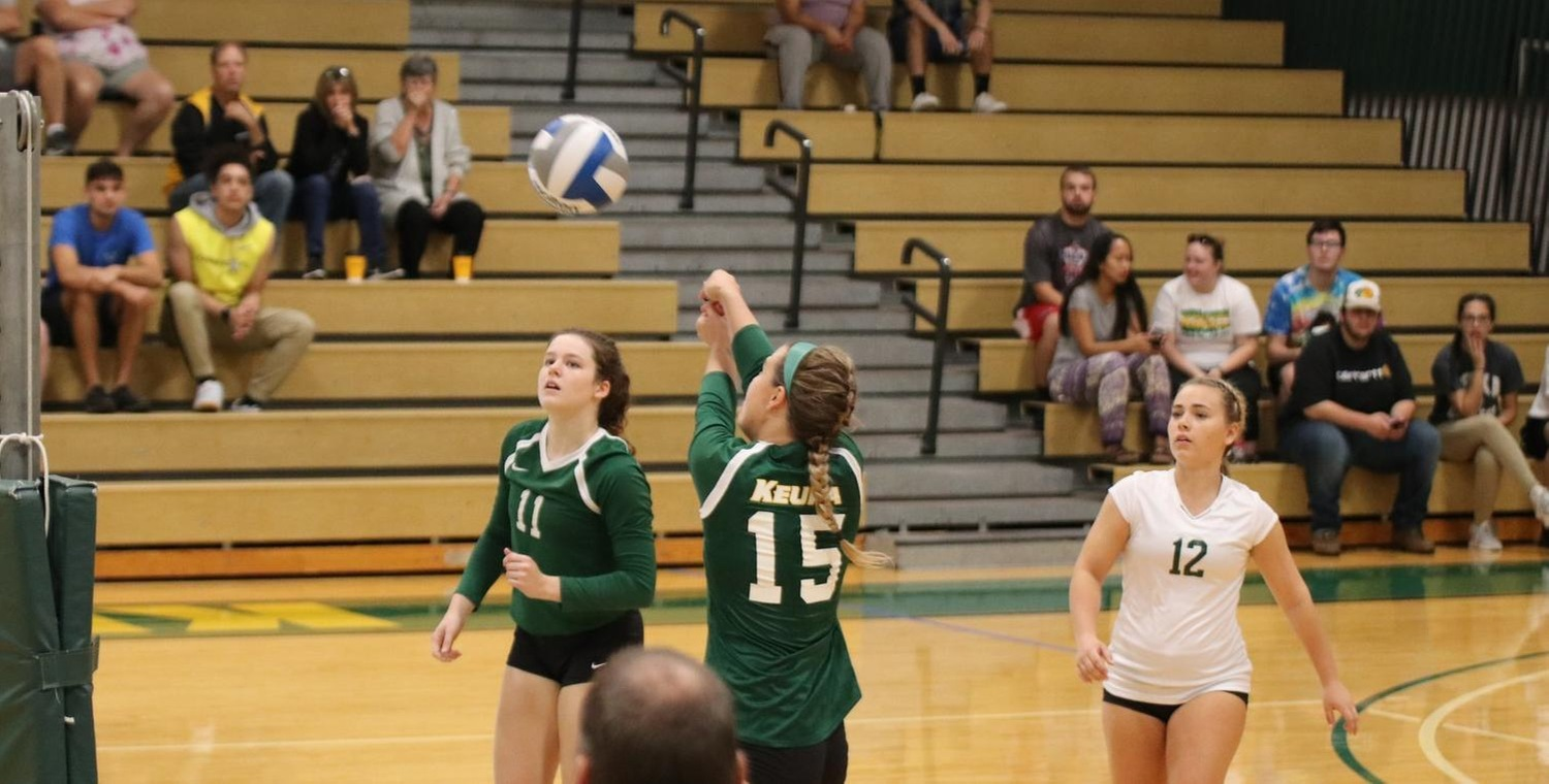 Erika Shepard (15) led Keuka College in kills, digs, and aces in both matches on Saturday