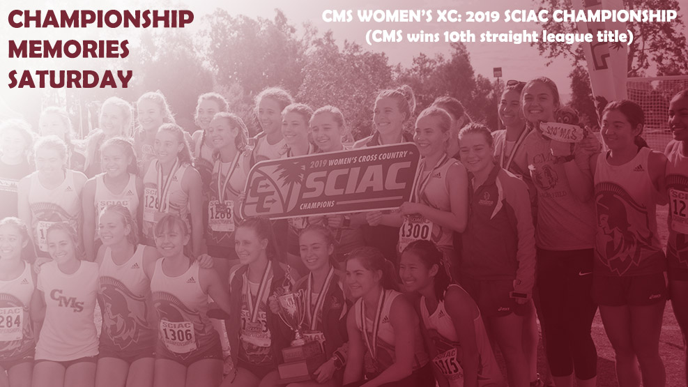 The CMS women's cross country team celebrates the 2019 SCIAC Championship