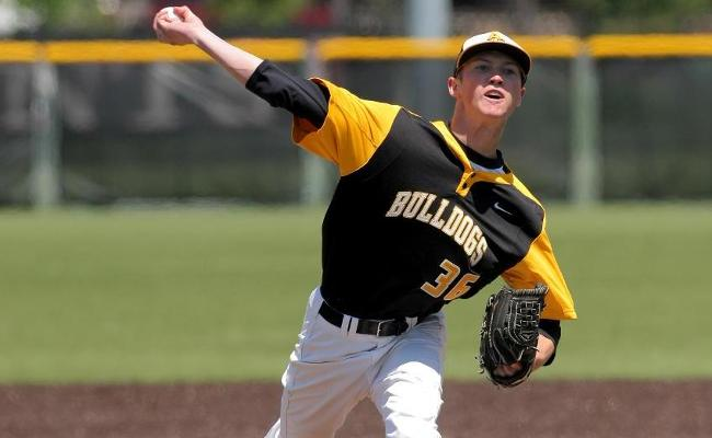 Tommy Parsons tied Eric Schmidt for the most Adrian College wins for a career with 30, as the Bulldogs defeated the BSC Panthers, 7-4, Thursday. (Action photo by Mike Dickie)