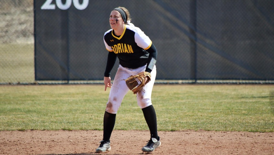 Senior shortstop Krista Lynch hit a grand slam in Adrian's 10-2 win over Eastern Nazarene on Thursday (Photo courtesy of Adrian College softball).