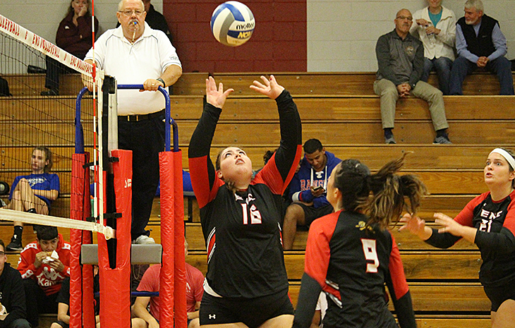 Women's Volleyball Falls at Rivier, 3-1