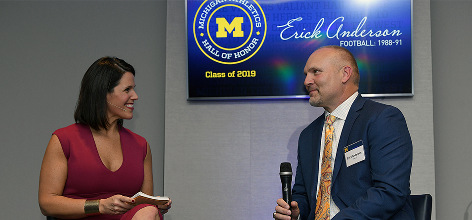 CBS This Morning Saturday Co-host and Michigan Alumna Dana Jacobson interviews Erick Anderson at Michigan Hall of Honor
