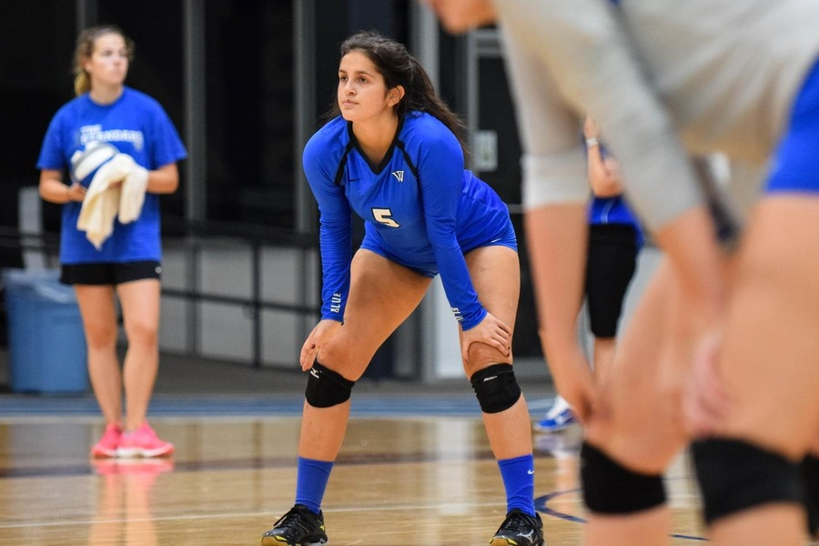 First year Becca Aristotelidis had eight digs in the Blue's 3-0 sweep of Westfield St. (Julia Monaco).