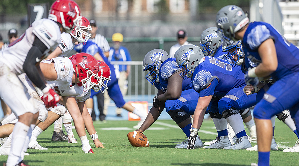 Christopher Newport's offensive line lines up across from the Montclair State defense. (Christopher Newport athletics photo)