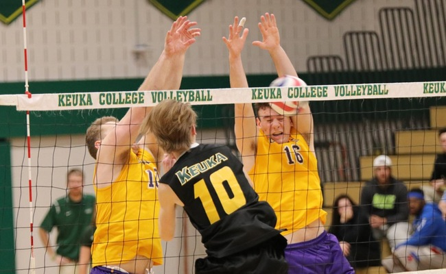 Jared Kucko (10) led Keuka College with 11 kills on Wednesday -- Photo by Abdul Alhumayni