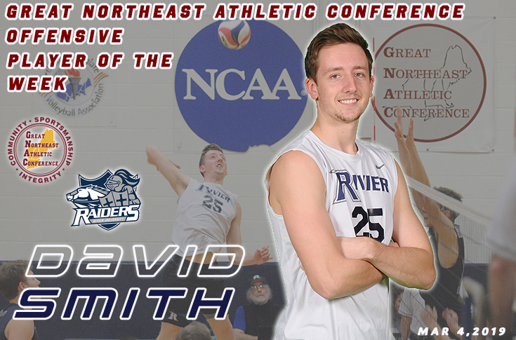 Men's Volleyball: David Smith earns second GNAC Player of the Week in a row.