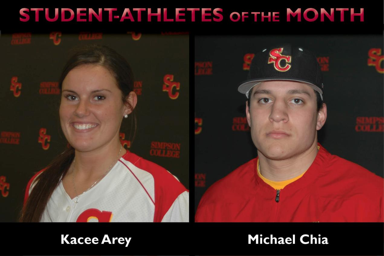 Arey, Chia named Student-Athletes of the Month