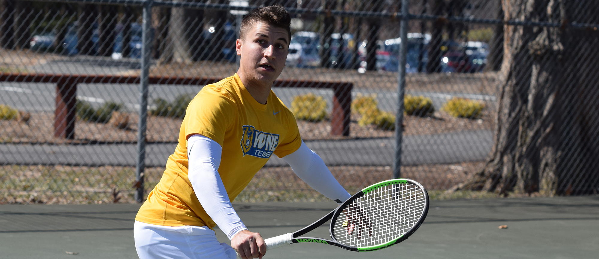 Sophomore David Kalmer improved to 9-1 in singles play, but WNE fell to Nichols 8-1 on Wednesday. (Photo by Rachael Margossian)