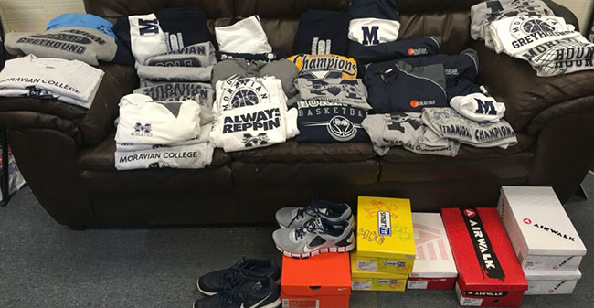 Clothing and shoes collected by Head Men's Basketball Coach Justin Potts to send to Houston as part of the Hurricane Harvey relief efforts.
