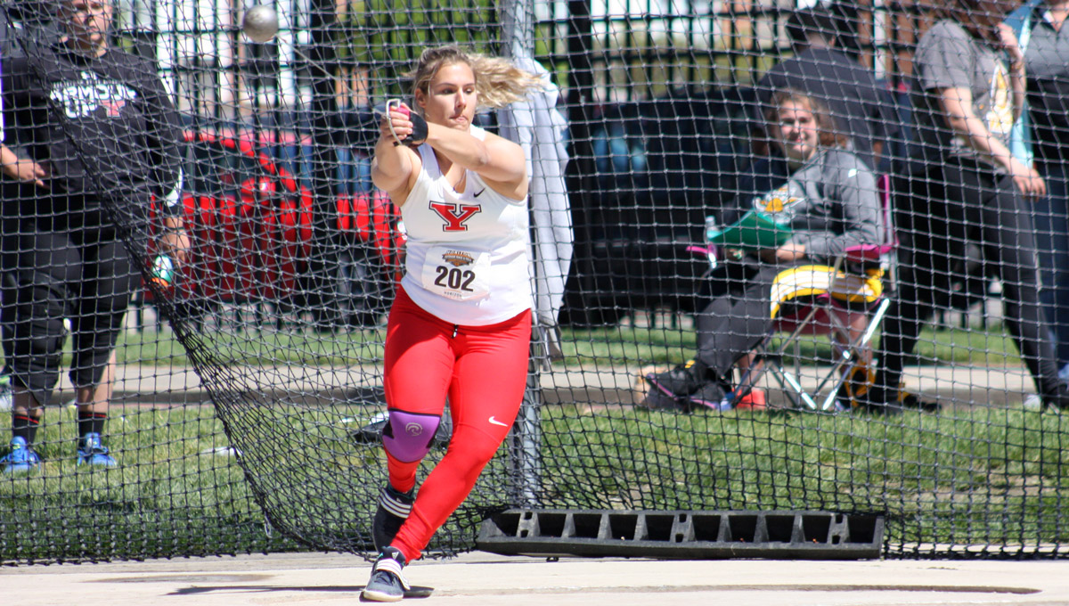 Nicolette Kreatsoulas competes in the hammer throw.