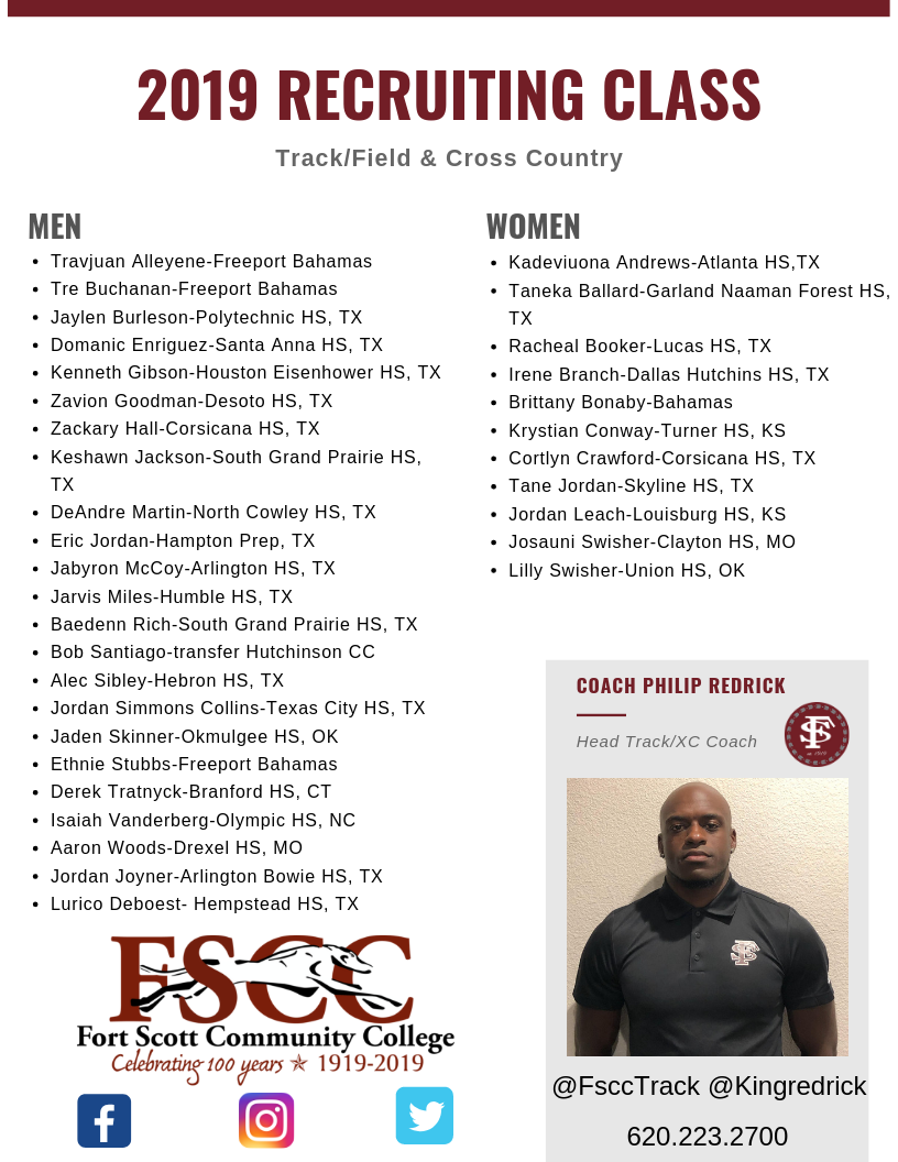 List of track and cross country recruiting list with coach redrick in the bottom right and then the FSCC centennial logo in the bottom left corner.