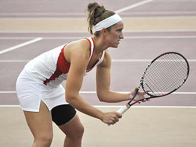 FSU's Tiffany Rheynard gets ready in Tuesday's match against Northwood (Photo by Rob Bentley)