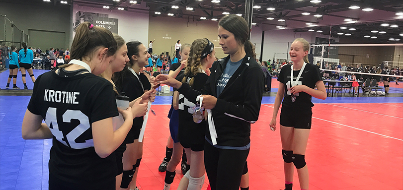 Alicia Lortcher coaching at The Cleveland Volleyball Club