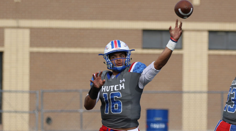 Quarterback Eric Forrest threw for three touchdown passes as the No. 20 Blue Dragons defeated Iowa Central 42-14 on Saturday at Gowans Stadium. (Joel Powers/Blue Dragon Sports Information)