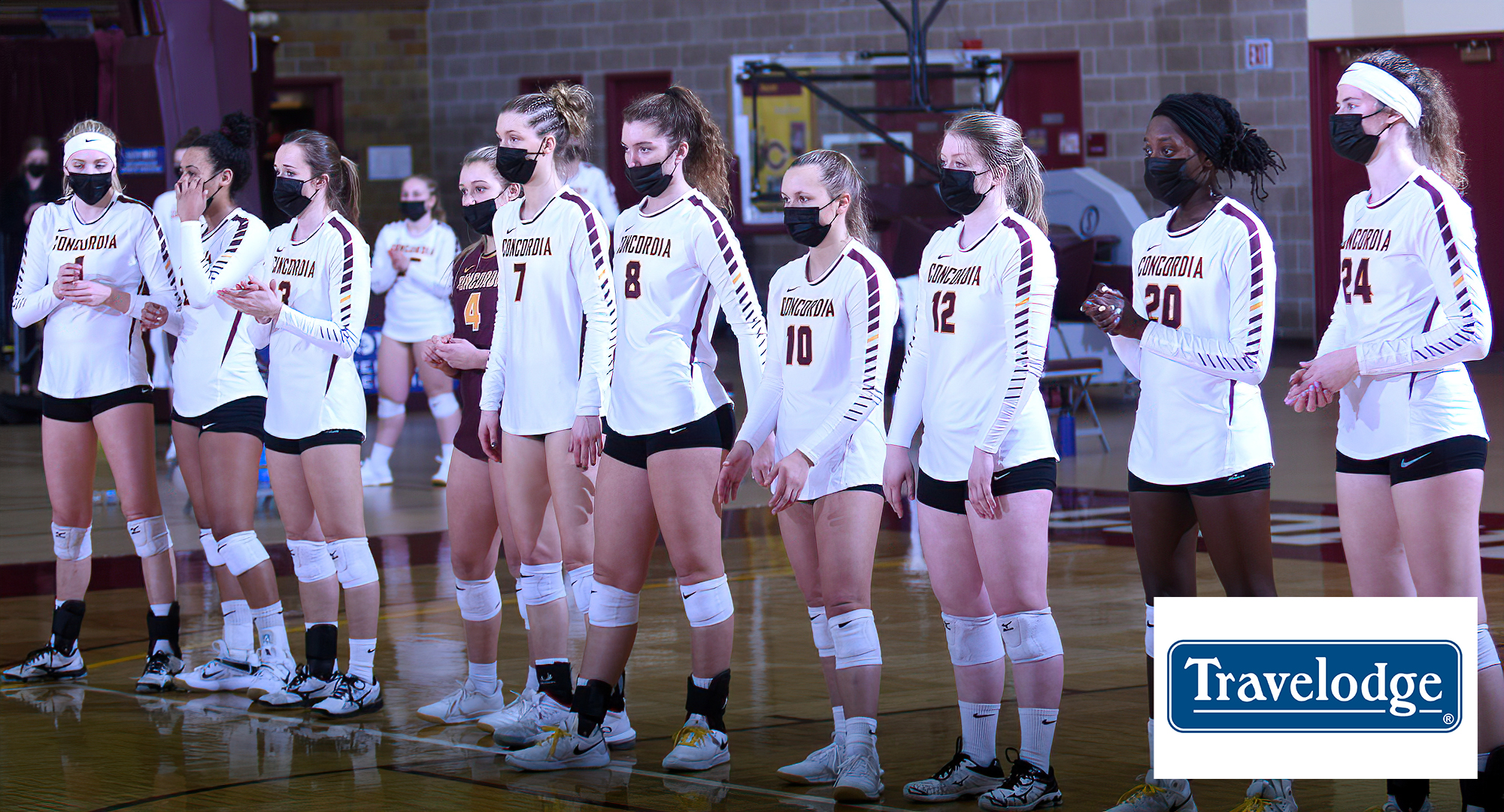 Concordia lines up before the start of their season opener against Bethel. The Cobbers hosted the first game of the season on Saturday after the fall season was delayed due to Covid.