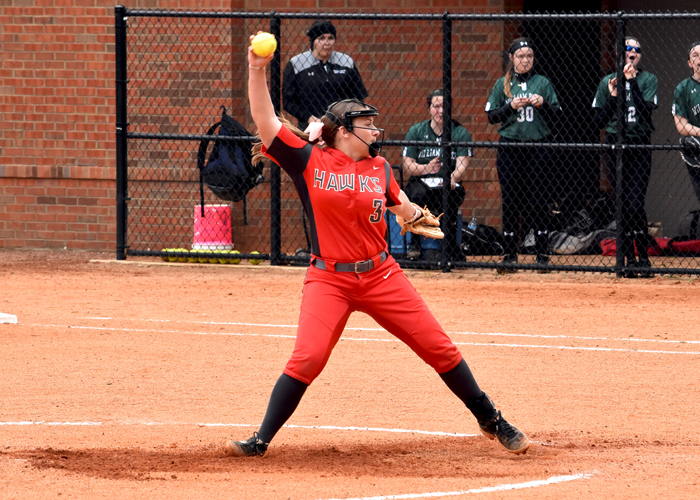 Lauren Melton struck out six, walked one, scattered four hits and gave up one run in a 4-1 win over the Mississippi University for Women on Wednesday.