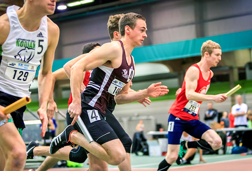MacEwan's Thomas Cross-Trush, centre, and SAIT's Brent Stephen, right, have both held the ACAC men's 300m record over the past two seasons. Stephen just snatched it away from Cross-Trush last month (Robert Antoniuk photo).