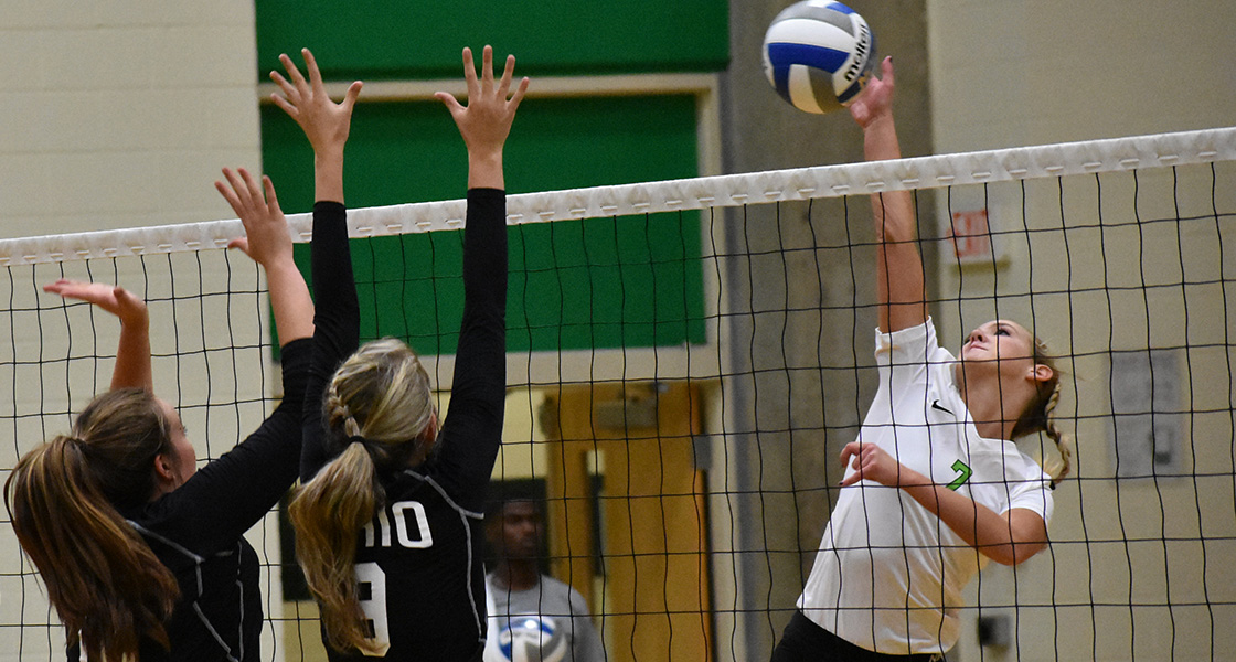 Freshman Taylor McCuiston tied for a team-high six kills in Tuesday's loss to Otterbein. (Athletic Communications file photo/Kailee Dale)