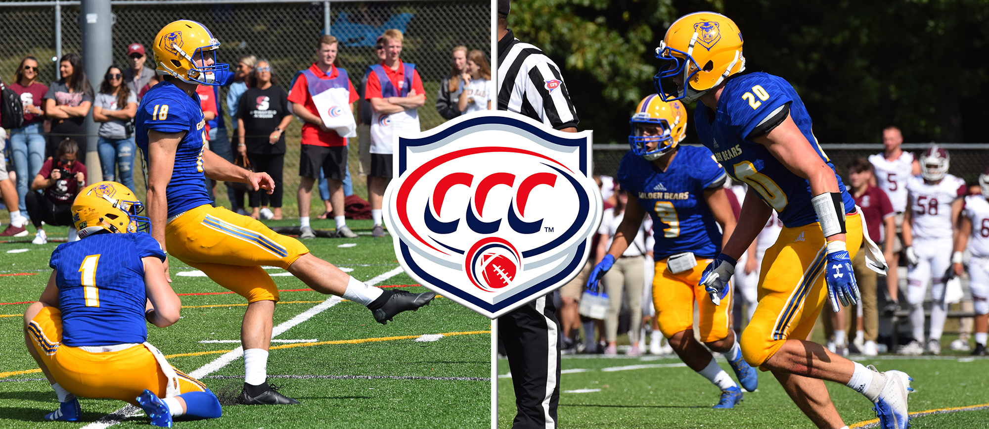 Kieran Lombard (left) and Bailey Devine-Scott (right) were recognized with weekly awards from CCC Football. (Photos by Rachael Margossian)