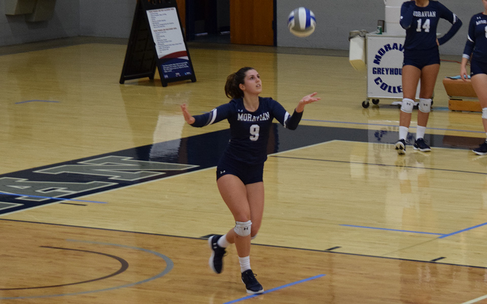 Freshman Kirah Dreisbach goes up for a jump serve versus Keystone College.
