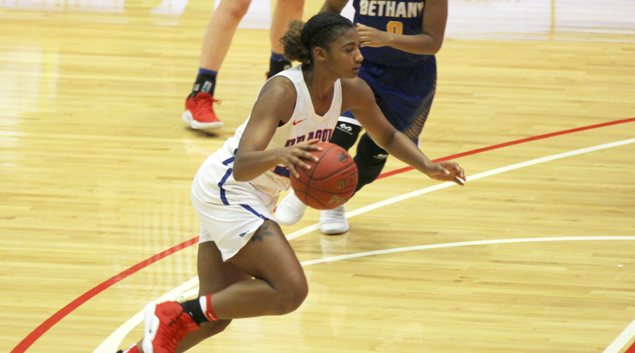 Dejanae Roebuck scores a season-high 22 points to lead the No. 13 Blue Dragon women to an 88-65 win over Murray State on Friday in Great Bend.