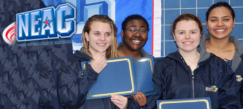 Gallaudet's women's medley relay team on the podium at the NEAC swim championships. A NEAC logo is in the upper left corner.