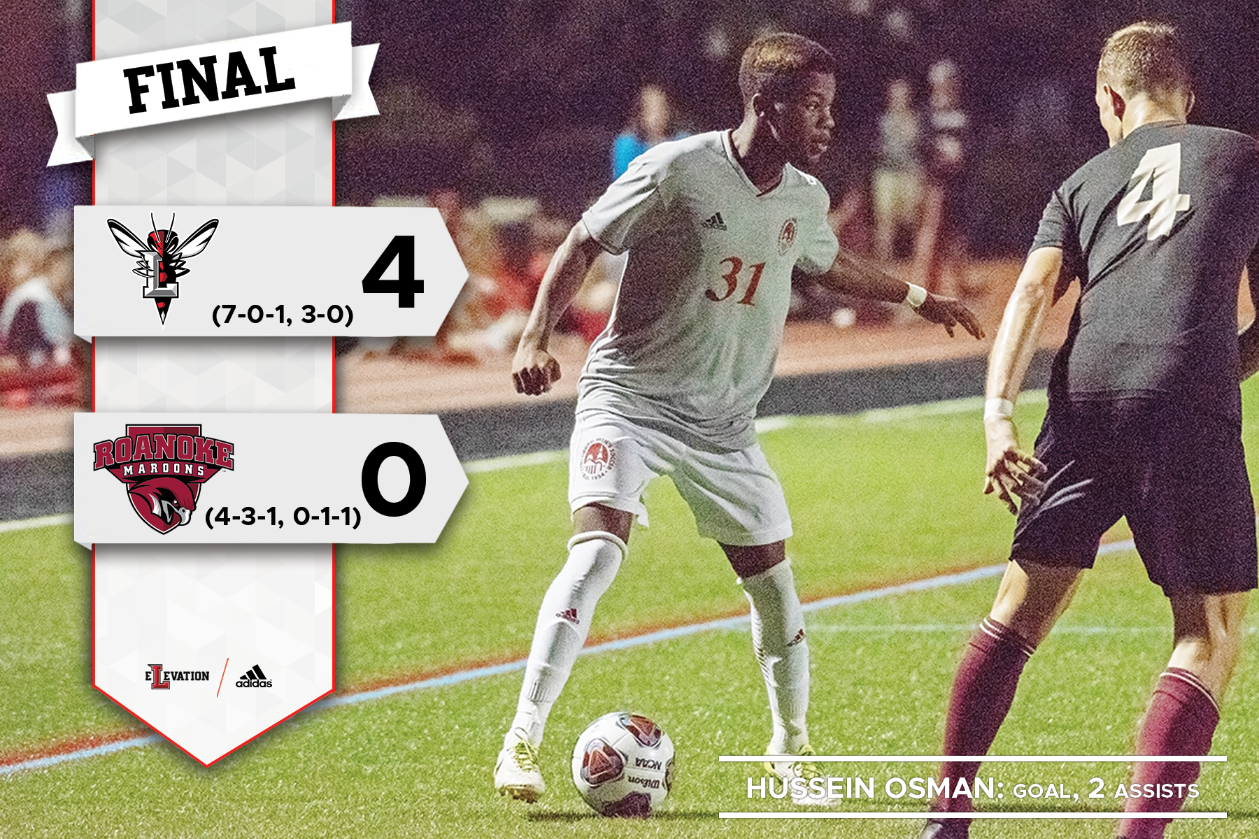 Hussein Osman kicking a soccer ball. Graphic showing Lynchburg's 4-0 win over Roanoke with team logos.