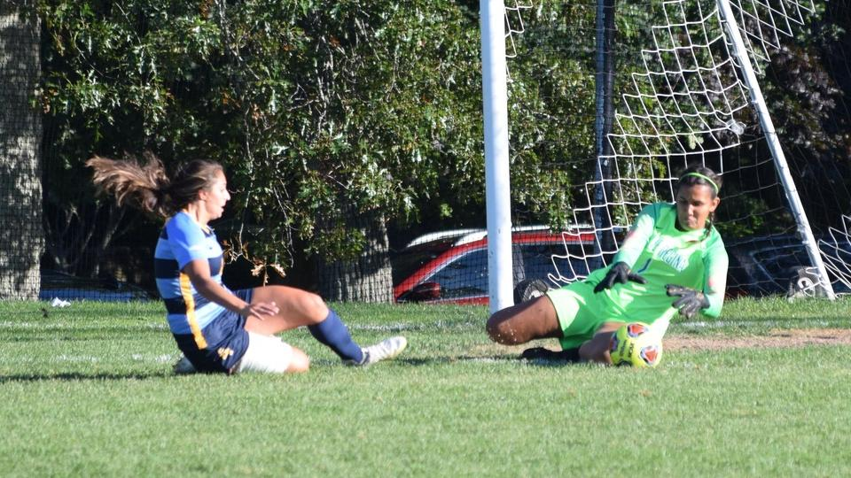 Jenna Park makes a save in last Saturday's game. (Photo by Tyler Benjamin)