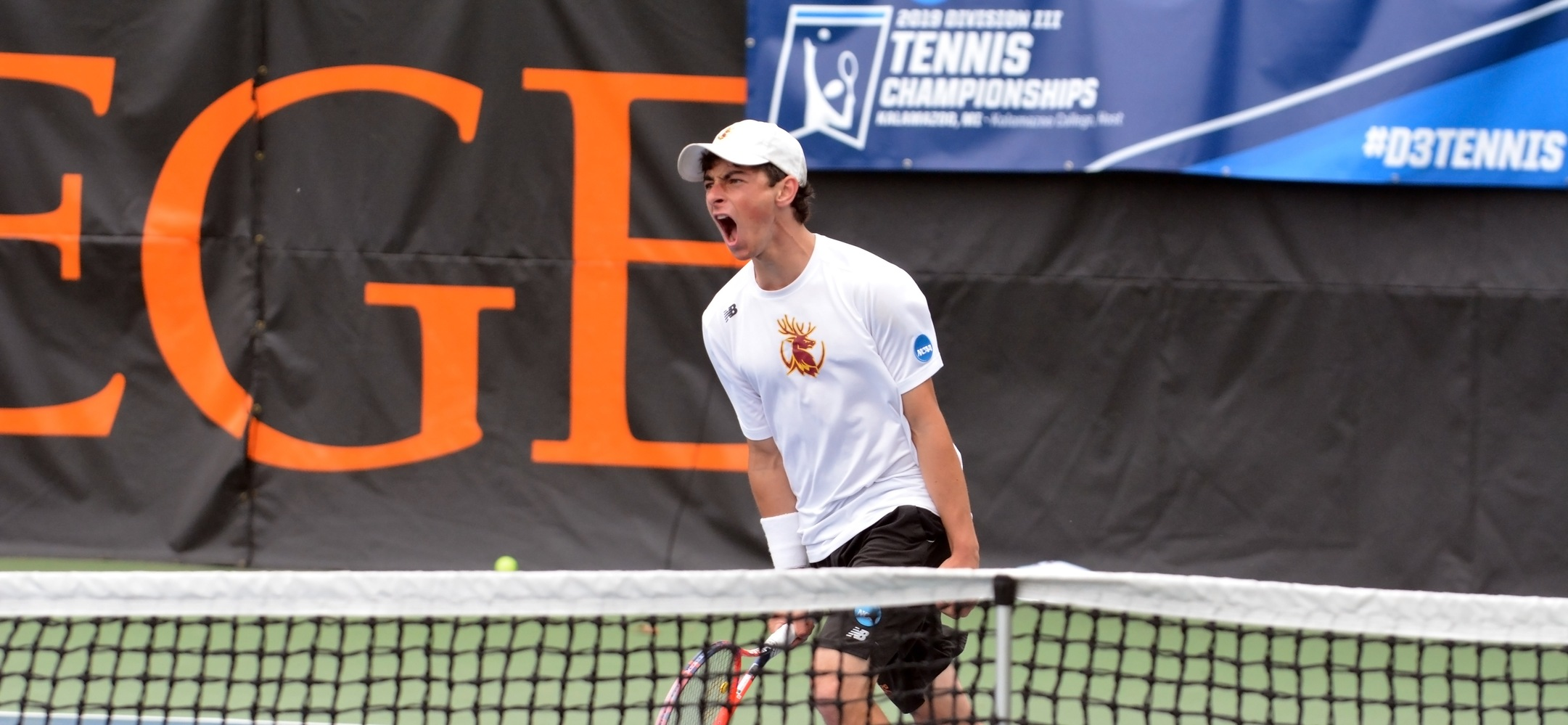 Jack Katzman celebrates his singles win in a 5-1 NCAA semifinal victory over Chicago