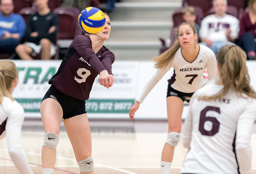 Karly Edgar bumps a ball during a match against UBC-Okanagan last weekend. The libero set a new MacEwan Canada West record with 35 digs in Saturday's 3-2 loss at Manitoba (Chris Piggott photo).