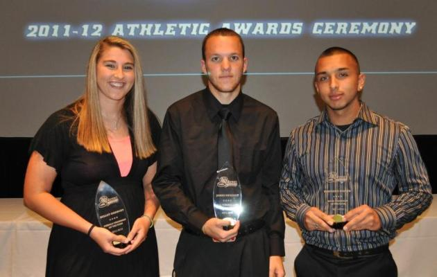 (L-R) Kelley Godbout- Female Freshman of the Year, James Sweeney- C.G. Timberlake Athlete of the Year & Ferenando Bedoya- Male Freshman of the Year