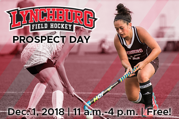 Photo of a field hockey player. Text: Lynchburg field hockey prospect day Dec. 1, 2018 11 a.m.-4 p.m. Free!