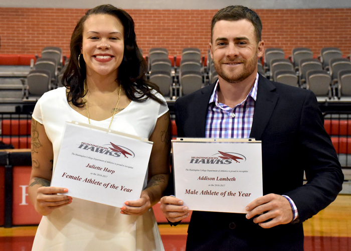 Women's basketball player Juliette Harp and men's golfer Addison Lambeth were recognized as the Huntingdon Female Student-Athlete of the Year and Male Student-Athlete of the Year during Wednesday night's Awards Ceremony.
