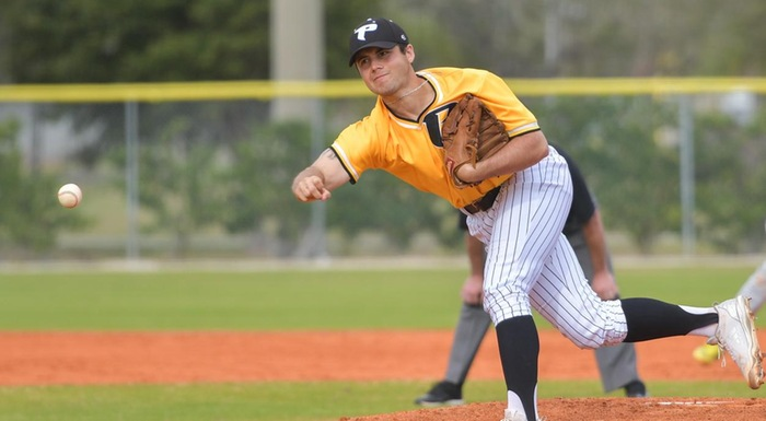 Billy McKay earned his first save of the season, pitching three scoreless innings as the Eagles beat Daytona State 4-2.  (Photo by Tom Hagerty, Polk State.)