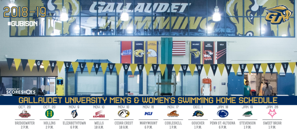 2018-19 Gallaudet University Men's and Women's Swimming Home Schedule graphic with logos, dates and info