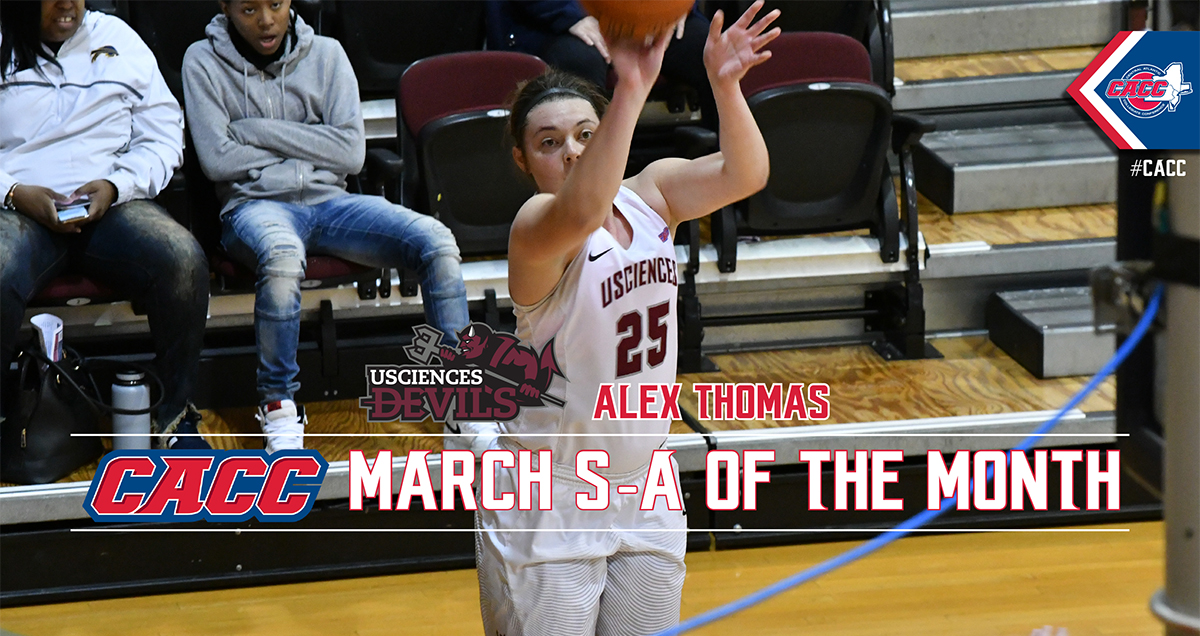 USciences Women's Basketball's Alex Thomas Named CACC Student-Athlete of the Month for March