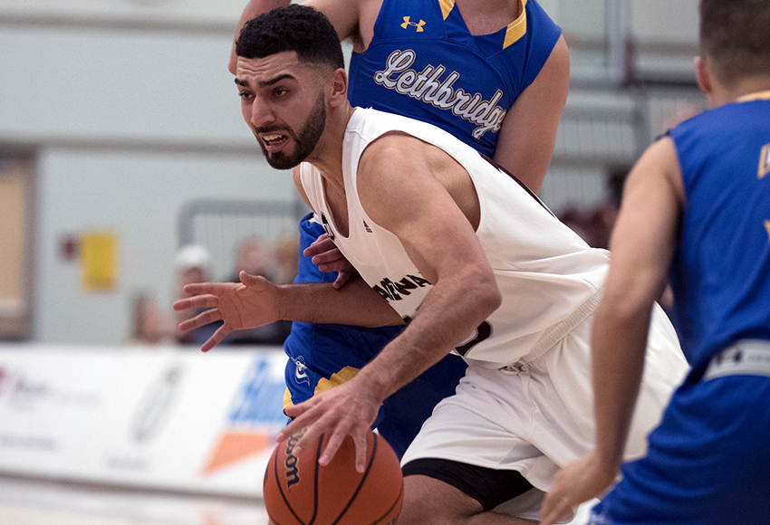 Ali Raza, seen in action against Lethbridge last weekend, led the Griffins with 20 points on Saturday (Eduardo Perez photo).