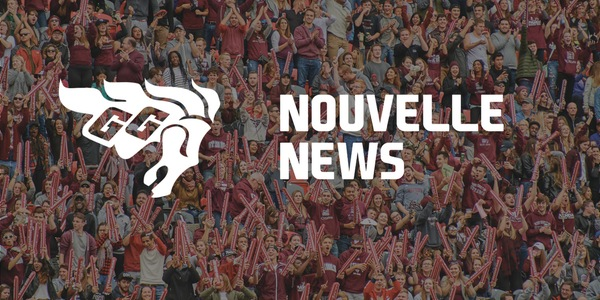 Gee-Gees logo. Nouvelle / News text on image of crowd in background.