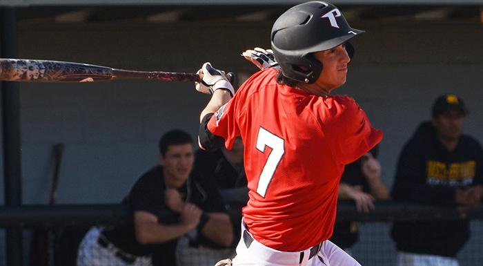 Brandon Gali singled twice, walked, and scored a run against South Florida. (Photo by Tom Hagerty, Polk State.)