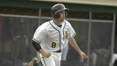 Baseball Splits; Earns First Victory