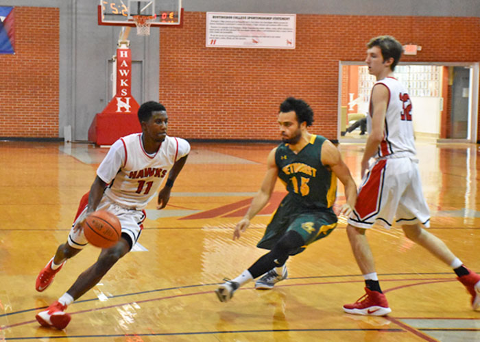 Senior Andre Ashley scored 18 points in Sunday's 94-76 loss to N.C. Wesleyan. (Photo by Wesley Lyle)