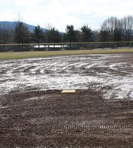 Rain soaked softball field