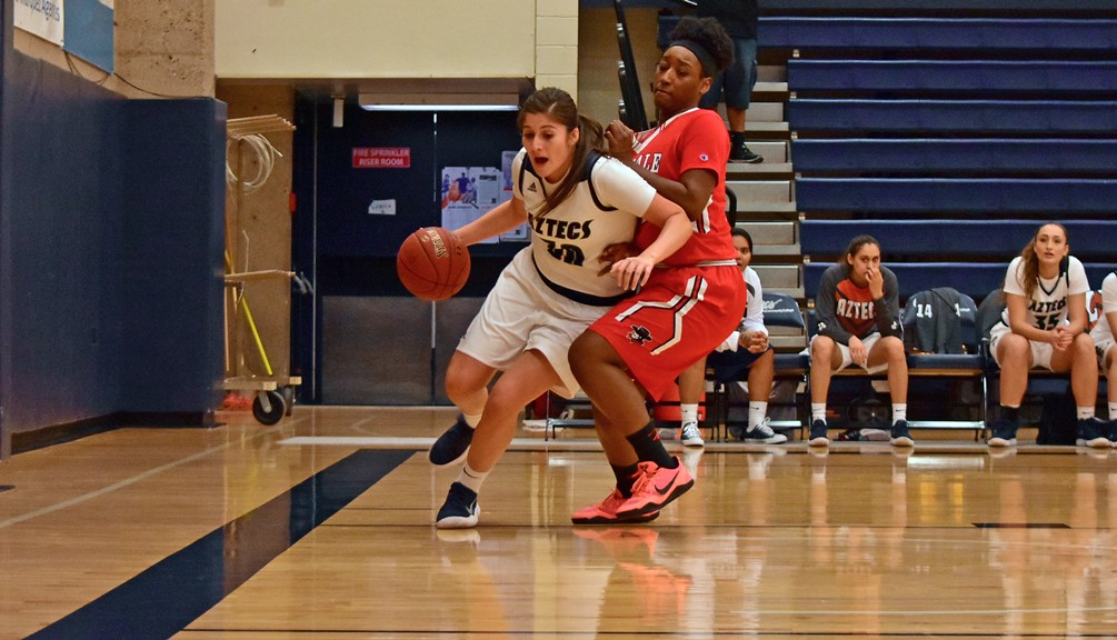 Sophomore Christine Ortega was one of three Aztecs to finish with double-doubles as she finished with 12 points and 10 rebounds in Pima's 84-66 win against Chandler-Gilbert Community College. The Aztecs are 4-1 overall and 3-0 in ACCAC conference play. Photo by Ben Carbajal.