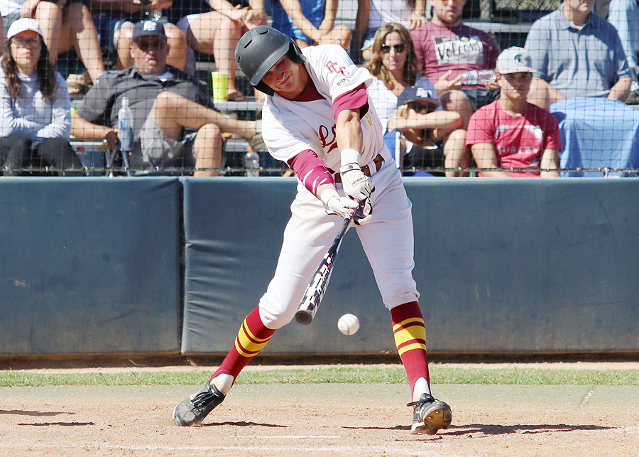 Lancers shortstop Alex Briggs reaches for a single on this at bat during PCC's season finale loss at El Camino College, photo by Richard Quinton.