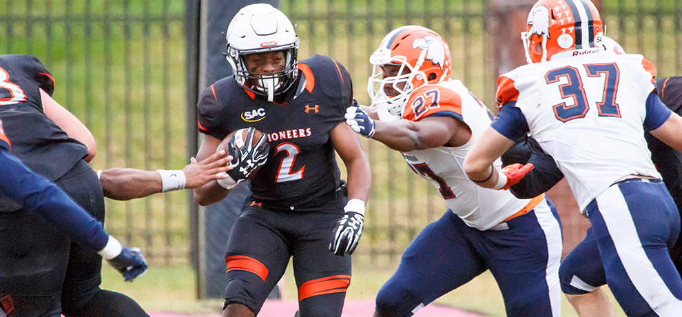 Lor'renzo Pratt ran for a career-high 151 yards and scored four touchdowns (3 rushing, 1 return) against Carson-Newman (photo by Chuck Williams)