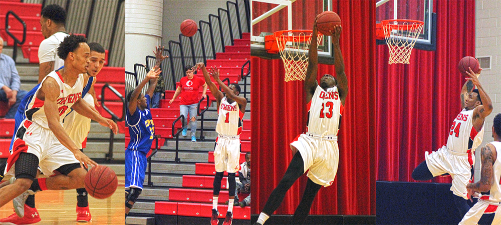 From L to R, Ty'Rese Searles, Derrik Jamerson Jr., Rico Stafford, and James Grays all helped the Owens MBB team take down Clark State 84-44 in the SHAC tonight. Photos by Nicholas Huenefeld/Owens Sports Information