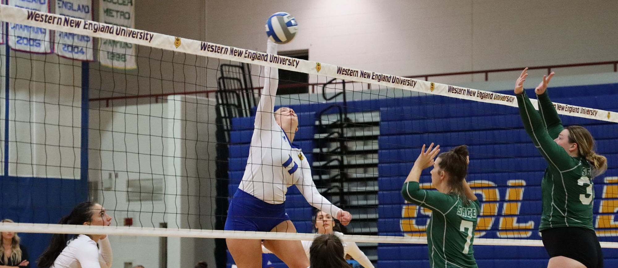 Cassie Holmes compiled a team-high 28 kills during Western New England's split with Worcester State and Wheaton on Saturday. (Photo by Kieran Lombard)