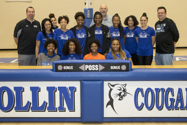 Collin College Lady Cougars with UTEP signee Destiny Thurman (center in orange).